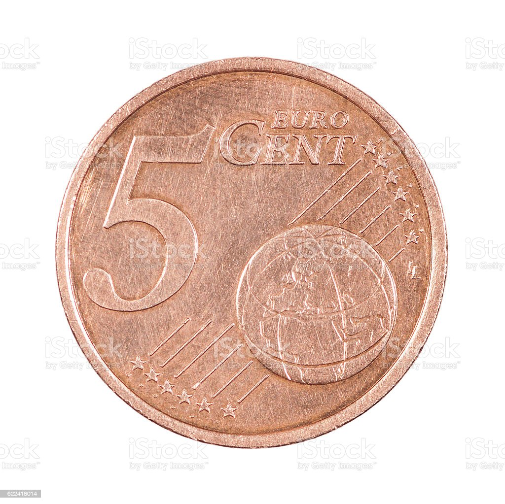 Five cents coin stock photo
