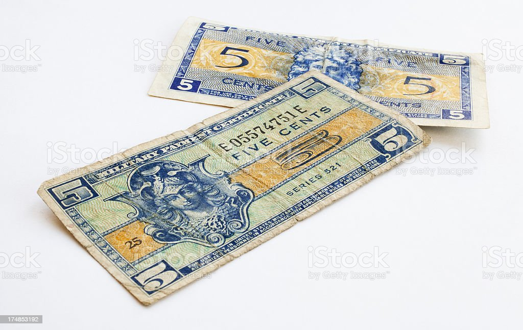 Five Cents Military Paper Money royalty-free stock photo