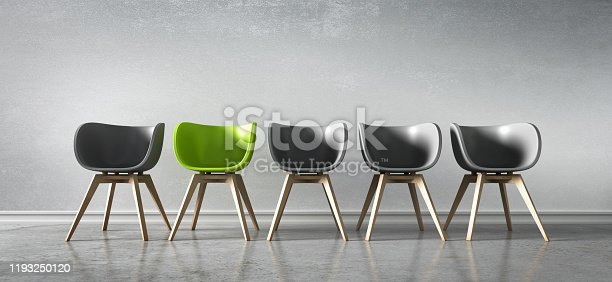 istock Five Chairs - Discussion 1193250120