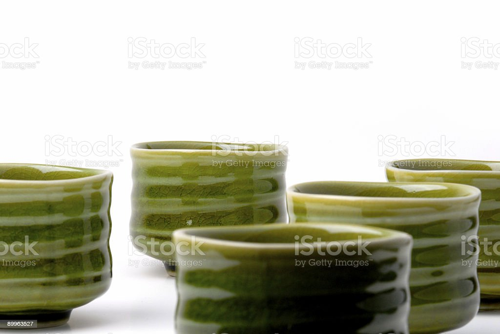 five chinese tea cups 2 stock photo