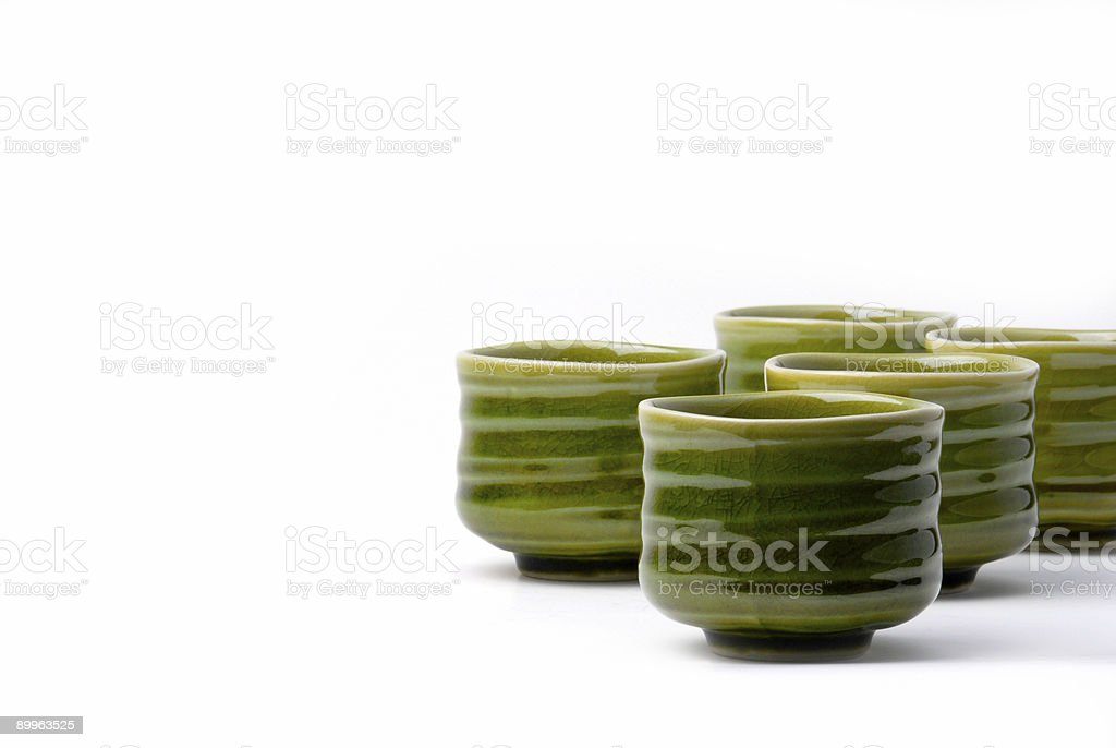 five chinese tea cups stock photo