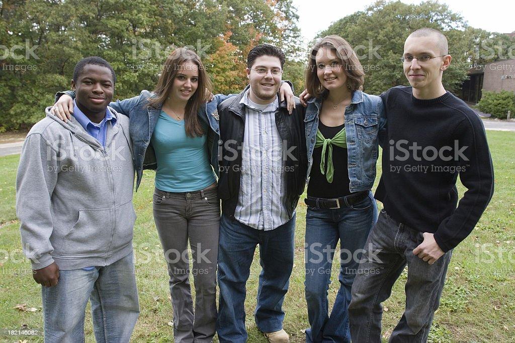 Five college friends stock photo