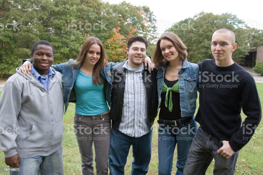 Five college friends royalty-free stock photo