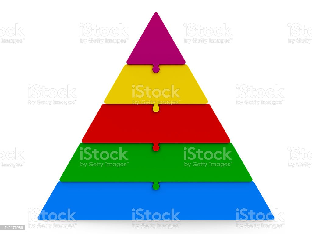 Five color puzzle pyramid stock photo