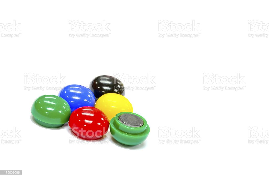 Five color round magnets group isolated on white stock photo