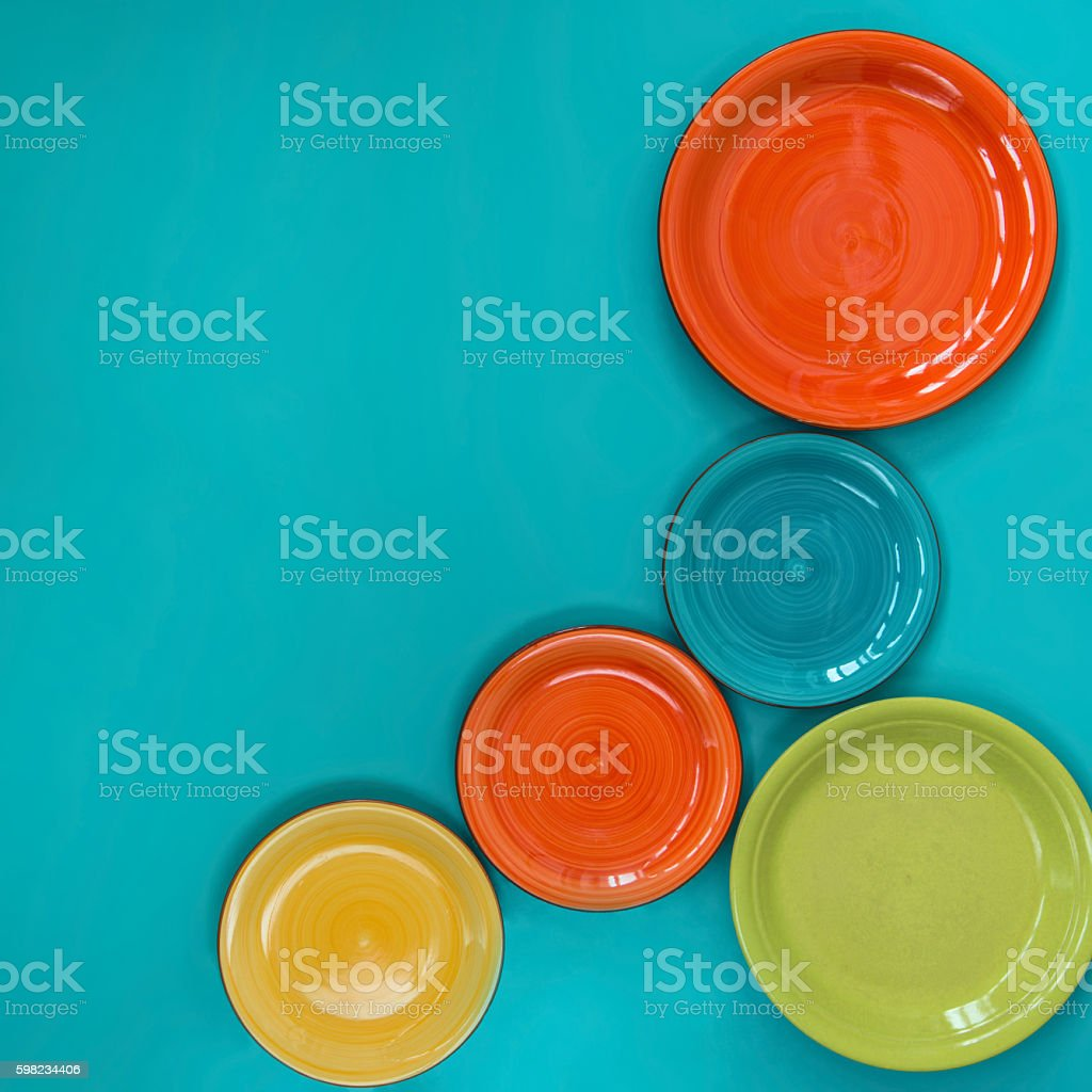 Five colored plates foto royalty-free
