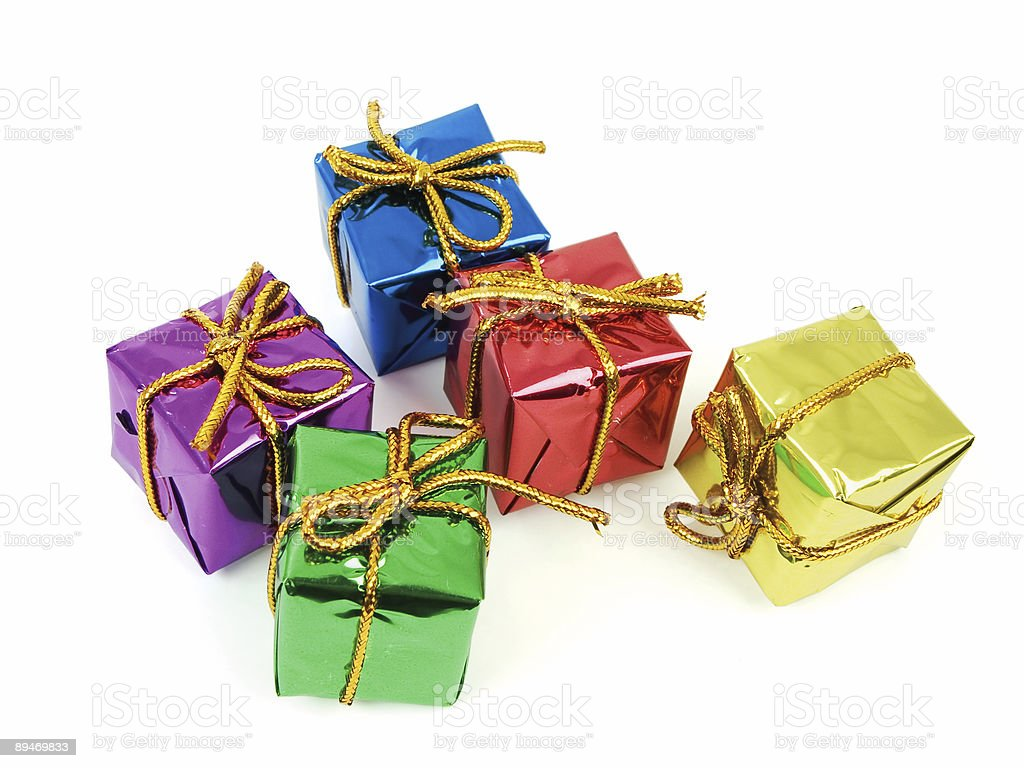Five colorful gifts royalty-free stock photo