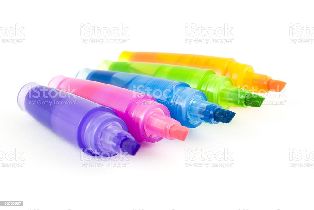 Five colorful highlighters royalty-free stock photo