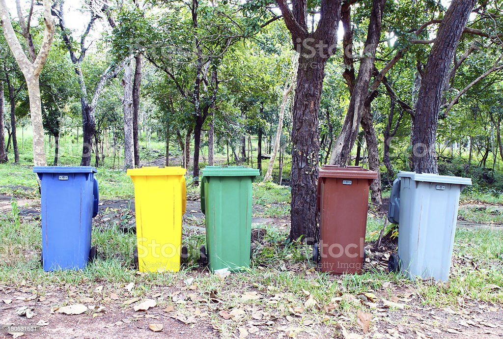 five colors recycle bin royalty-free stock photo