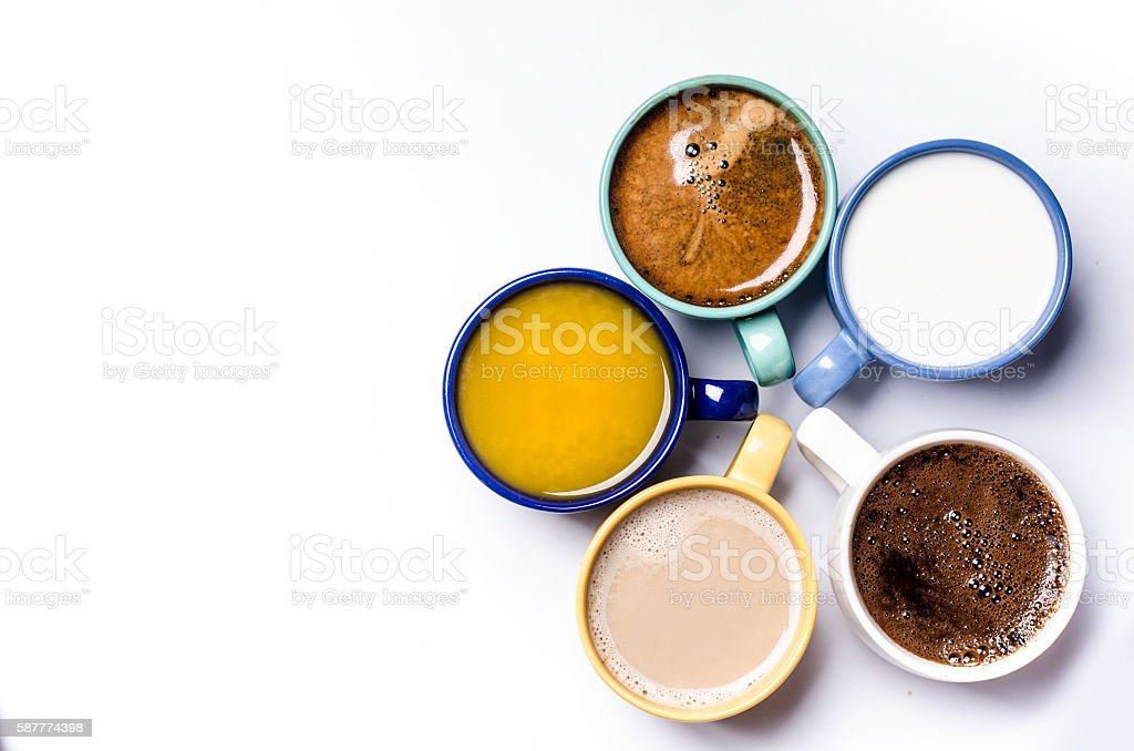 Five  cups on a white background