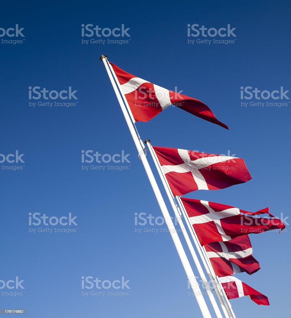 Five Danish flags royalty-free stock photo