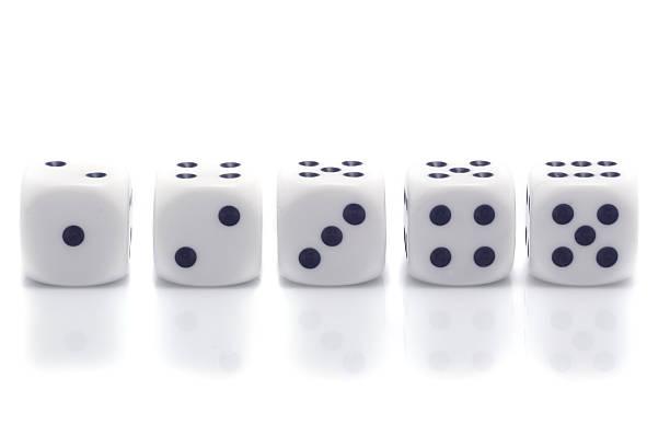 five dice stock photo