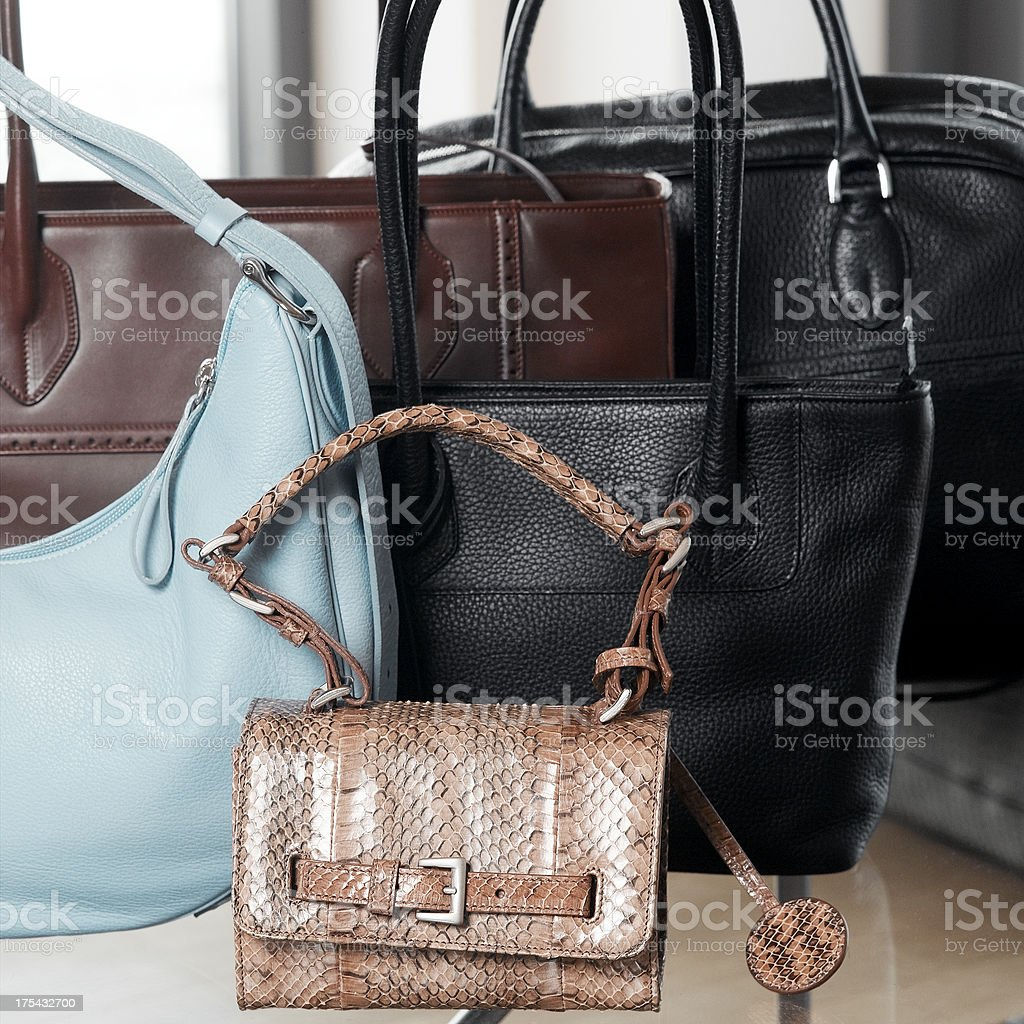 Five different bags stock photo