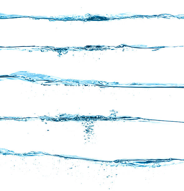 five different blue water surfaces isolated on white - water surface stock photos and pictures