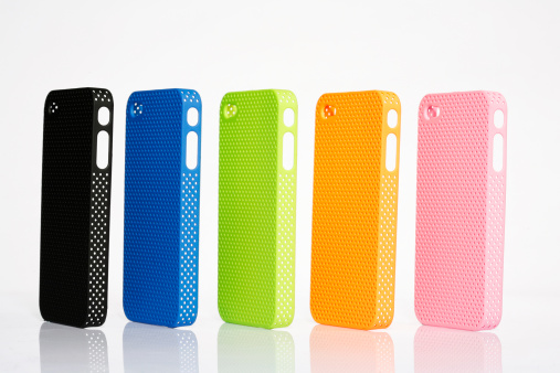 Five different colored cell phone protective cases
