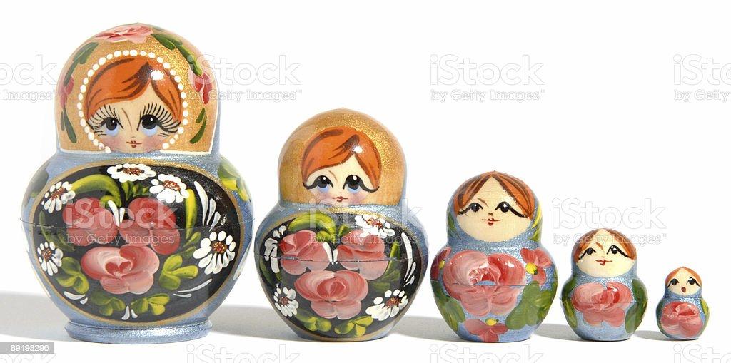 Five diminishing russian dolls royalty-free stock photo