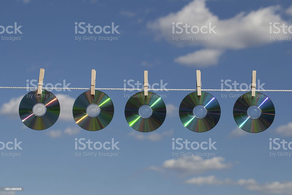 Five Discs on a Clotheslines royalty-free stock photo