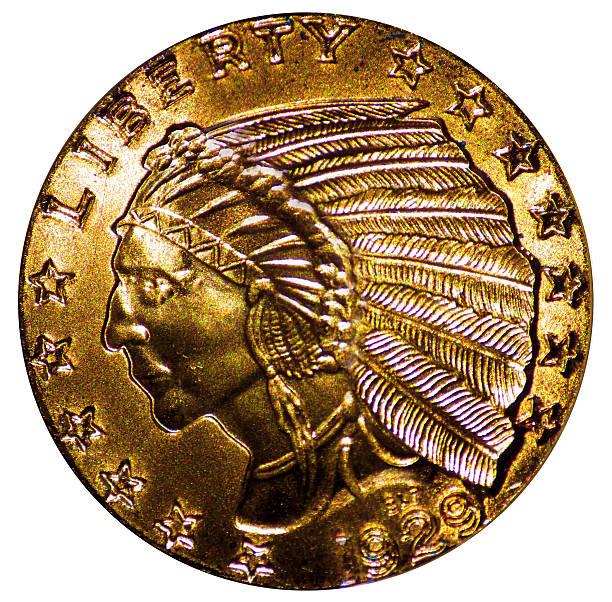 five dollar indian head gold coin - acquaforte foto e immagini stock