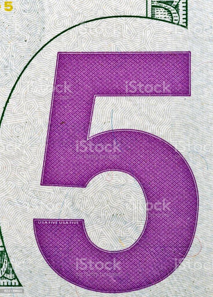 US five dollars bill corner, closeup stock photo