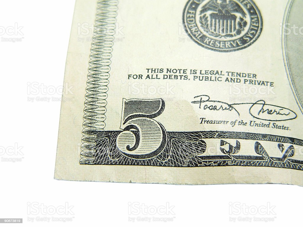 Five Dollars royalty-free stock photo