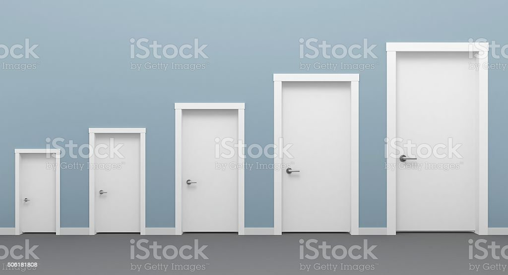 Five doors white. stock photo