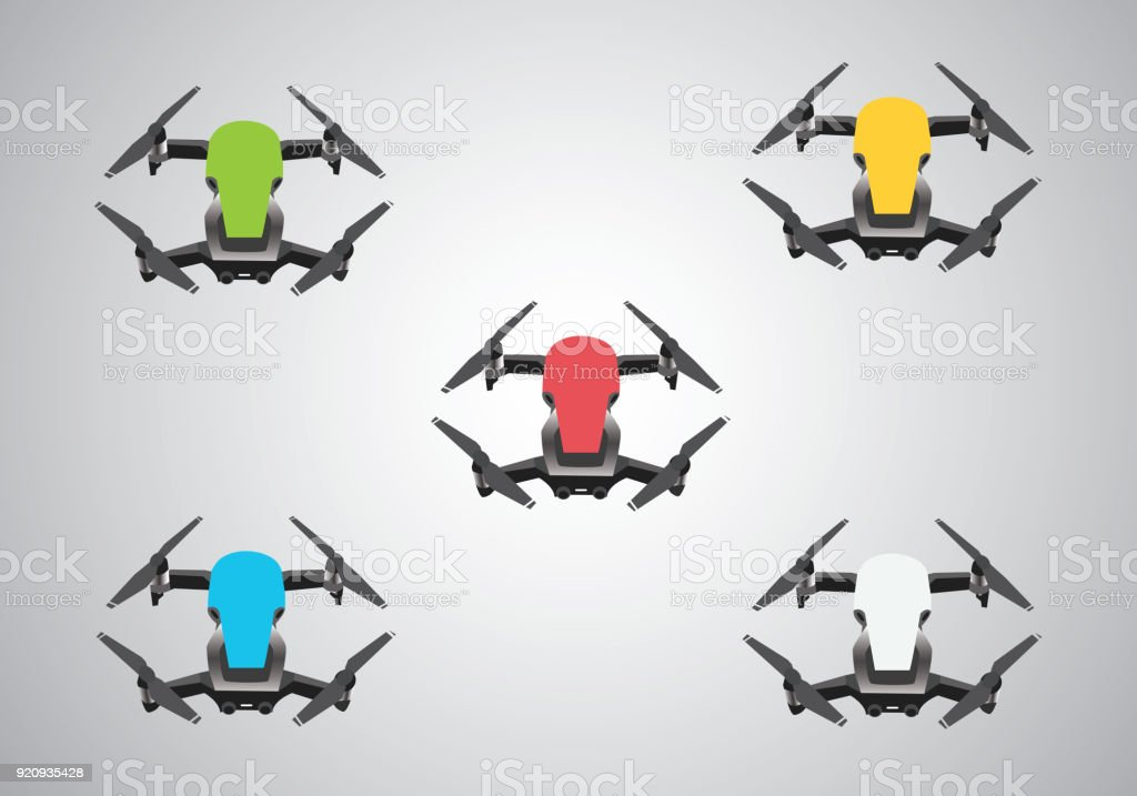 Five drones with different colors stock photo