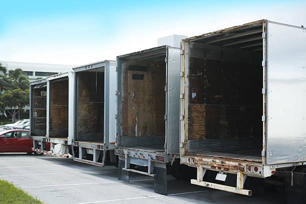 Five Empty Semi Truck From Miami Florida USA stock photo