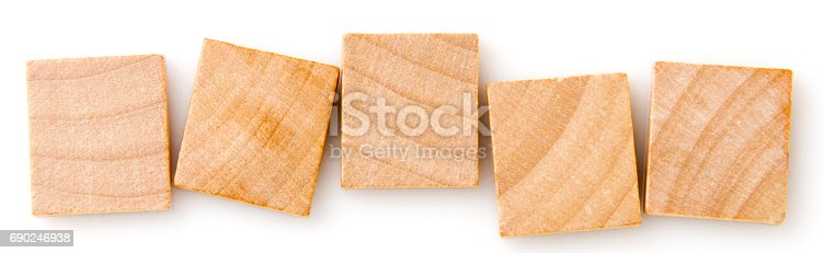 five empty wooden tiles on white background