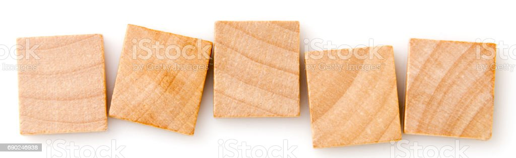 five empty wooden tiles stock photo