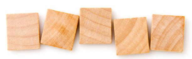 five empty wooden tiles stock photo