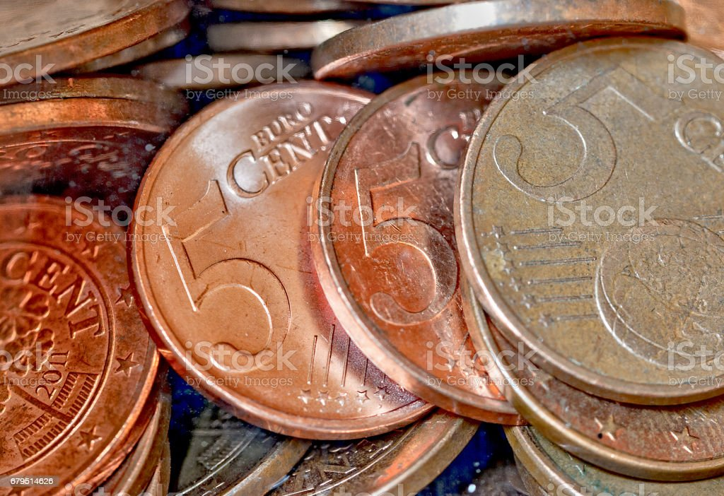 Five Euro-cent coins stock photo