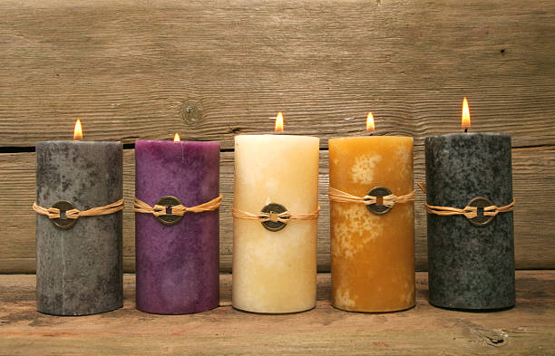 Five feng Shui candles stock photo
