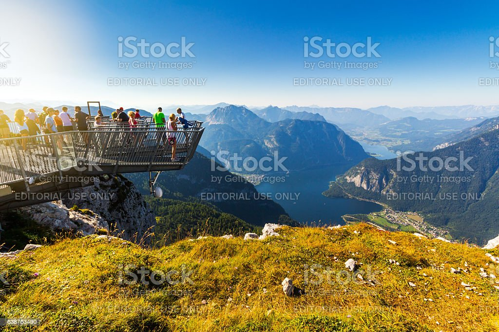 Five Fingers viewing platform at Dachstein Mountains full with people stock photo