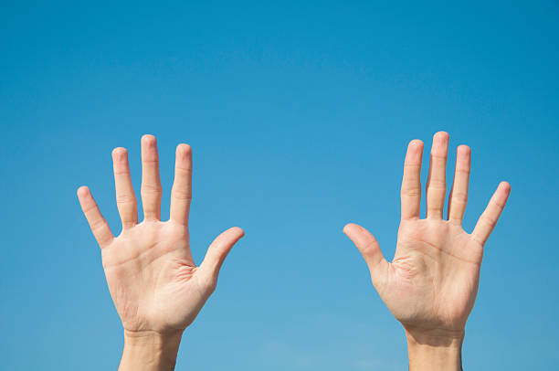 five fingers with two hands - number 10 stock photos and pictures