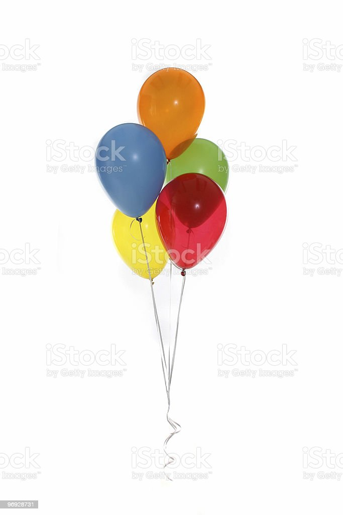 Five floating balloons against white background royalty-free stock photo