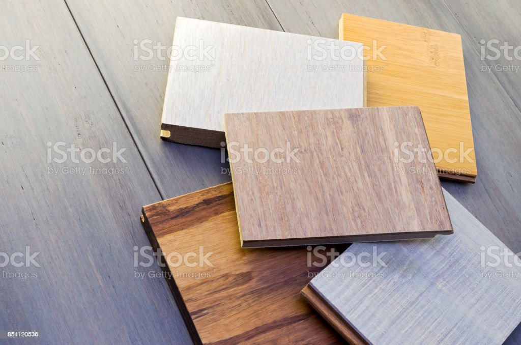 Five Floor Samples Atop Bamboo Planks stock photo