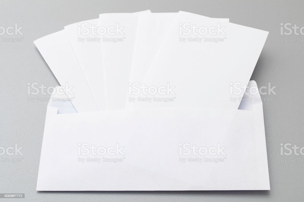Five Folded Sheets in an Envelope stock photo