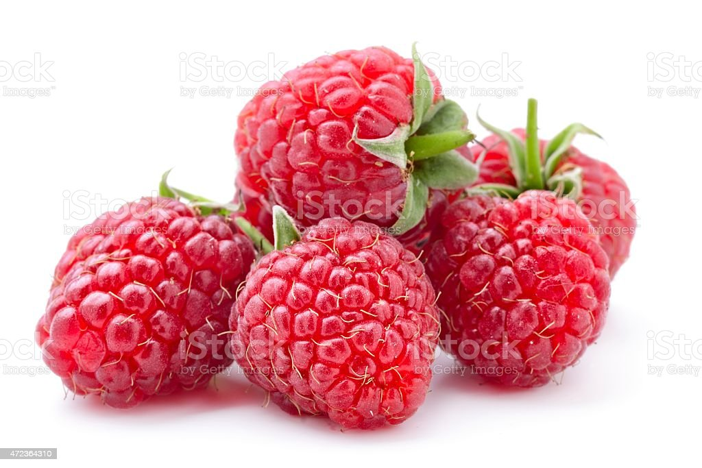 Five Fresh raspberries in white background stock photo