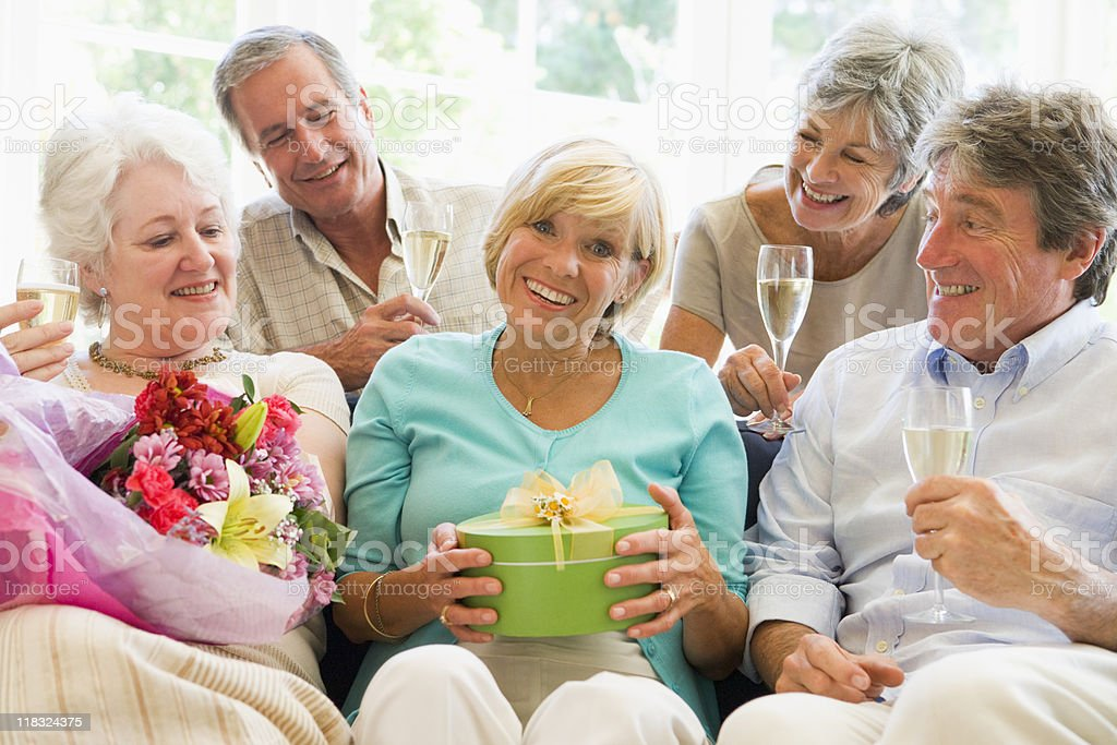 Five friends celebrating royalty-free stock photo