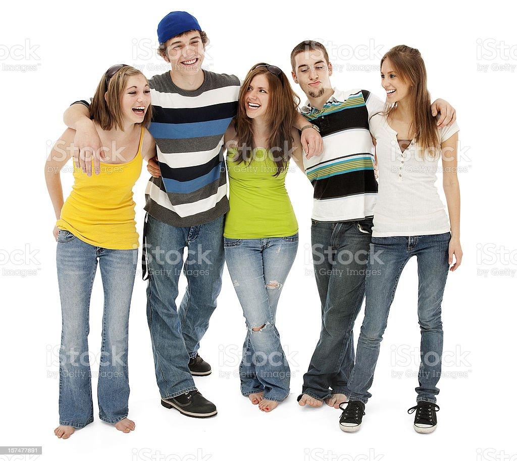 Пяти друзей смеяться стоковое фото