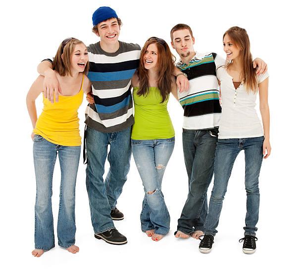 Fünf Freunde lachen – Foto