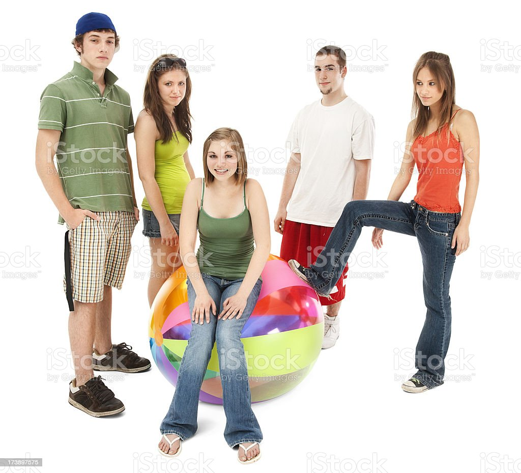 Five Friends with Beach Ball royalty-free stock photo