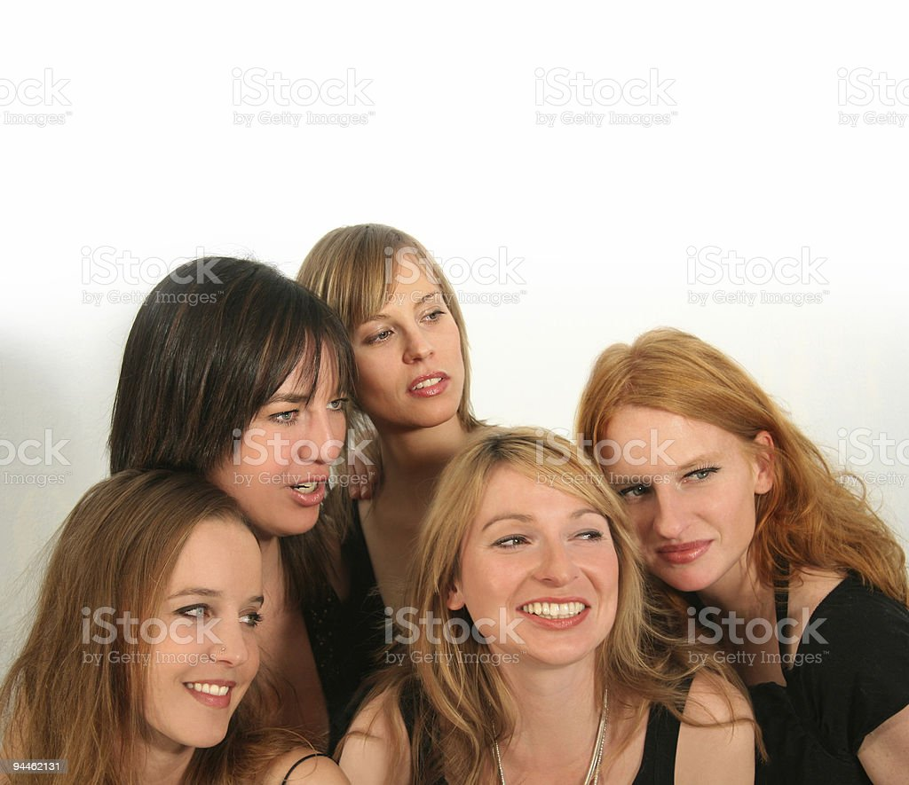 Five girls looking royalty-free stock photo