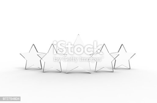 istock Five glass stars isolated on white background. 972754604