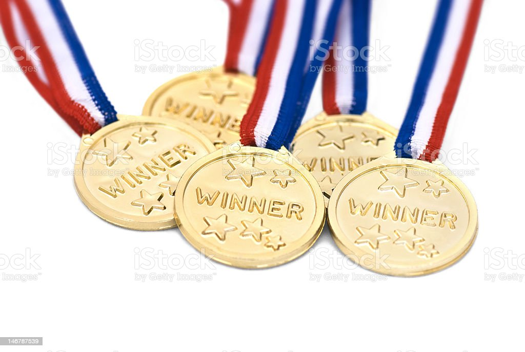 Five gold medals royalty-free stock photo