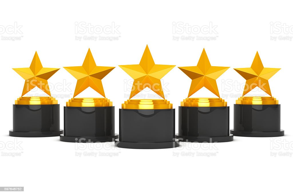 Five Gold Star Awards. 3d Rendering stock photo