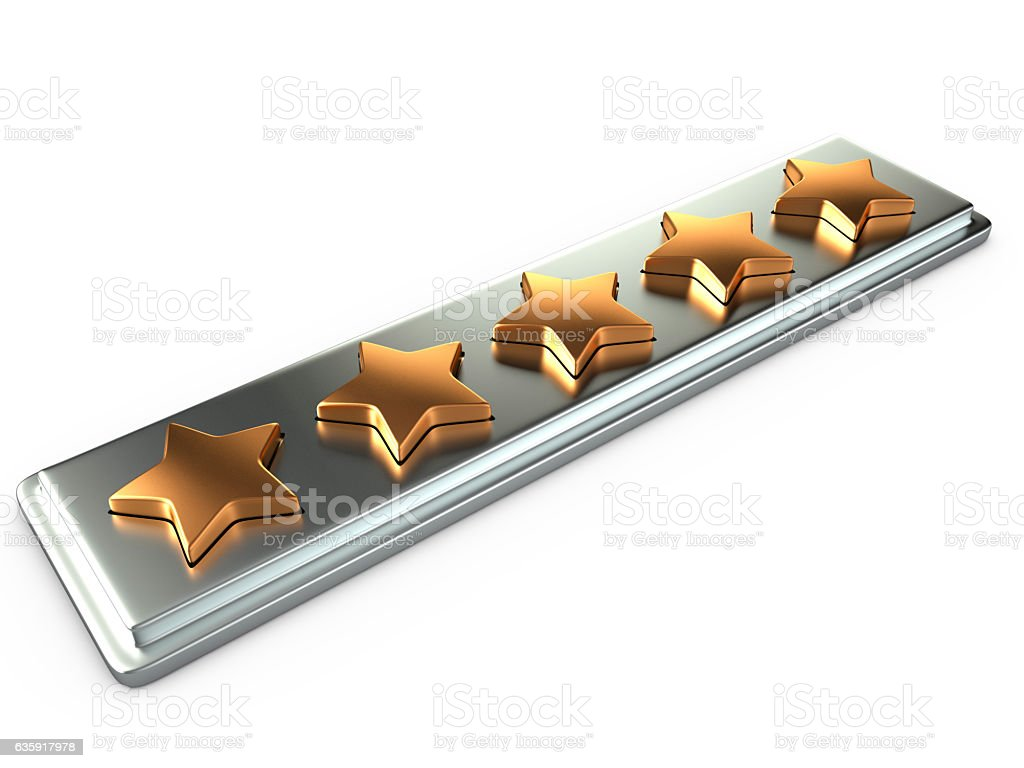 Five gold stars for ranking, 3D stock photo