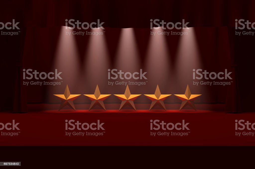Five Gold Stars on Stage stock photo