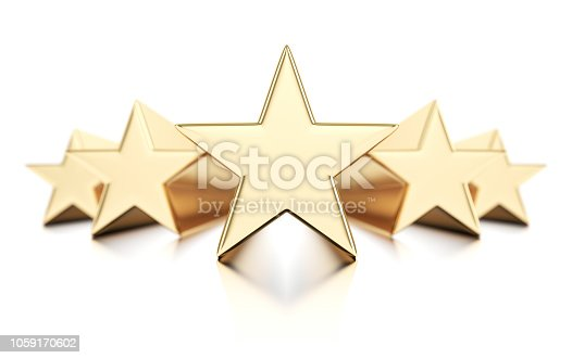 Five gold stars isolated on white background