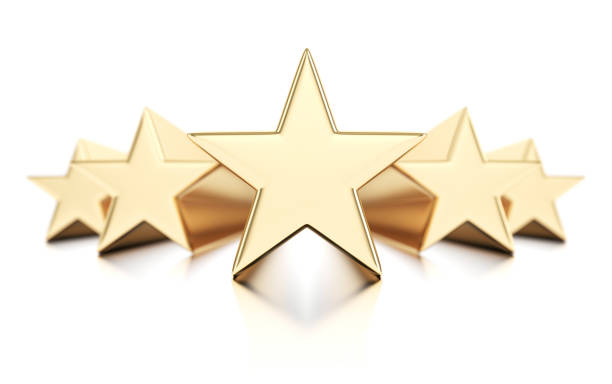 Five gold stars Five gold stars isolated on white background first class stock pictures, royalty-free photos & images